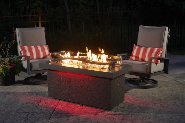 Innovative, wave design Boreal Complete Heat with Red LED lighting by The Outdoor GreatRoom Company for your dream backyard or patio