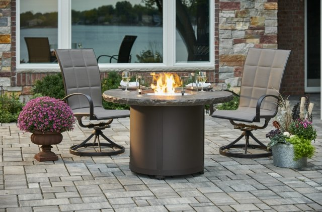 Stunning, unique design Marbleized Noche Beacon Dining Height Gas Fire Pit Table by The Outdoor GreatRoom Company for entertaining and outdoor dining