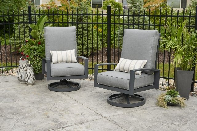 Comfy, stylish Cast Slate Lyndale Highback Swivel Rocking Chairs by The Outdoor GreatRoom Company for your deck or backyard space