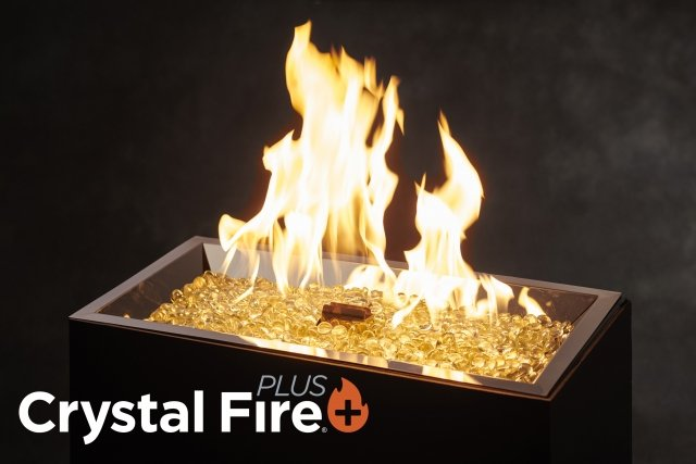 Crystal Fire Plus burner technology for outdoor living and backyard spaces by The Outdoor GreatRoom Company