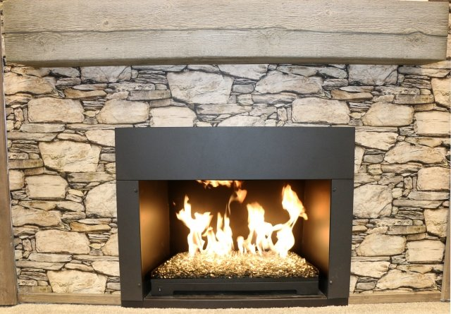 Modern, stylish design Crestline Modern Gas Hearth Set by The Outdoor GreatRoom Company for your living room or family den