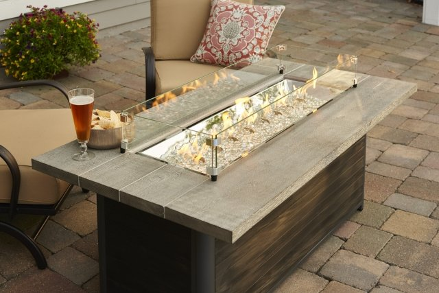 Distressed, modern design Cedar Ridge Gas Fire Pit Table by The Outdoor GreatRoom Company for your patio or backyard