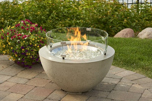 Stylish, unique look Cove 20 Fire Pit Bowl with Glass Guard by the Outdoor GreatRoom Company for your patio or backyard