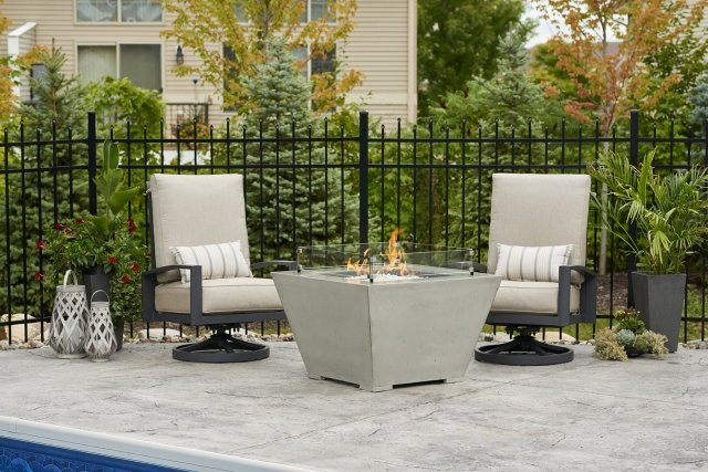 Modern, unique design Cove Square Gas Fire Pit Bowl by The Outdoor GreatRoom Company for your contemporary patio or backyard