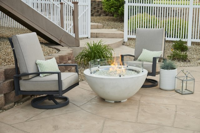 "Modern White 30"" Cove Gas Fire Pit Bowl by The Outdoor GreatRoom Company for your patio or backyard space"