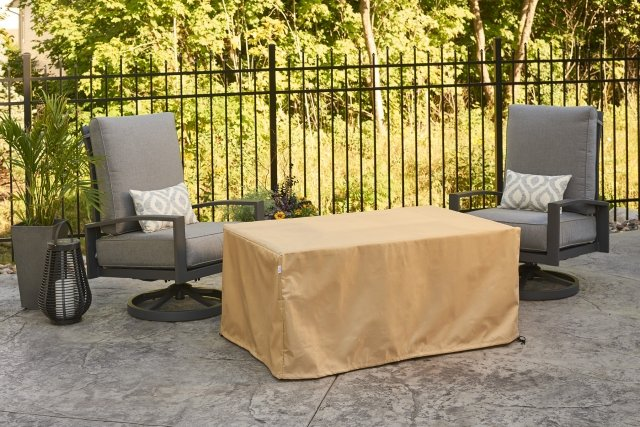 Durable, heavy-duty Protective Cover for Brooks, Kenwood Rectangular, & Sierra Linear Fire Pit Table by The Outdoor GreatRoom Company for your patio or backyard gas fire pit