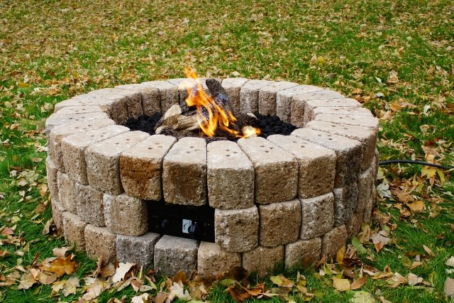 "38"" Round Do-It-Yourself Hardscape Gas Fire Burner Kit by The Outdoor GreatRoom Company for your backyard fall DIY project"