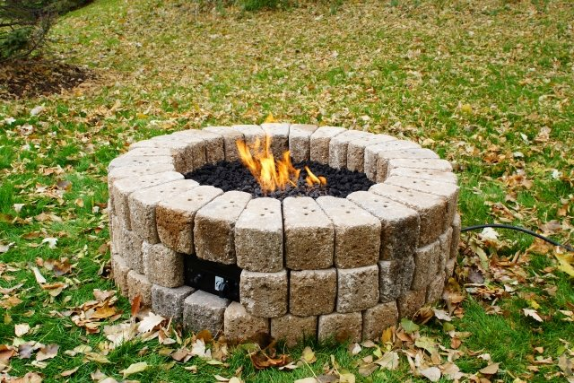 "38"" Round Do-It-Yourself Hardscape Gas Fire Burner Kit by The Outdoor GreatRoom Company for fall DIY projects and outdoor backyard projects"