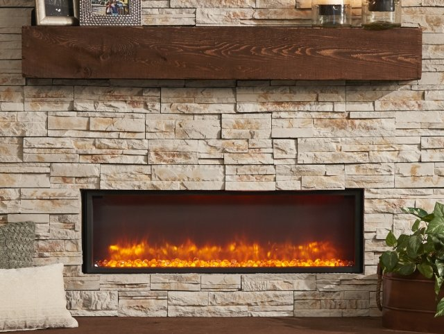 "44"" Linear Built In Electric Fireplace with Amber Light"