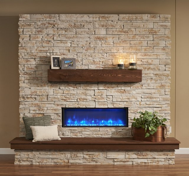 "44"" Linear Built In Electric Fireplace Blue LED"