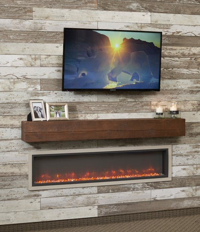 "64"" Built-in Linear Electric FIreplace featuring cool blue lighting with Tavern Brown 72"" Mantel by The Outdoor GreatRoom Company for your cozy, stylish indoor living space or family room"
