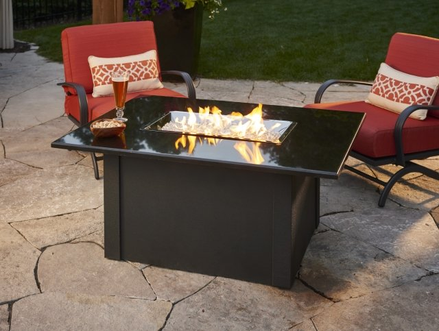 Stylish, simple design Grandstone Gas Fire Pit Table by The Outdoor GreatRoom Company for your timeless patio or deck