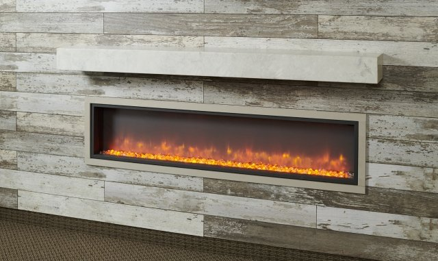 White fireplace mantle with electric fireplace insert with orange flames