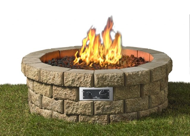 Beautiful, DIY design Hudson Gas Fire Pit Kit by the Outdoor GreatRoom Company for your patio or backyard