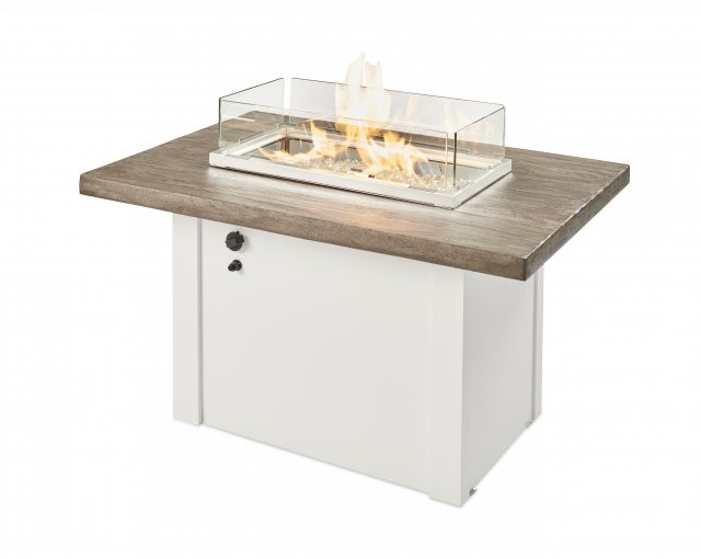 Driftwood Havenwood Gas Fire Pit Table with White metal base by The Outdoor GreatRoom Company for your patio or deck