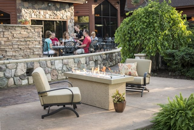 Stylish, durable Brown Key Largo Linear Gas Fire Pit Table by The Outdoor GreatRoom Company for your patio or backyard