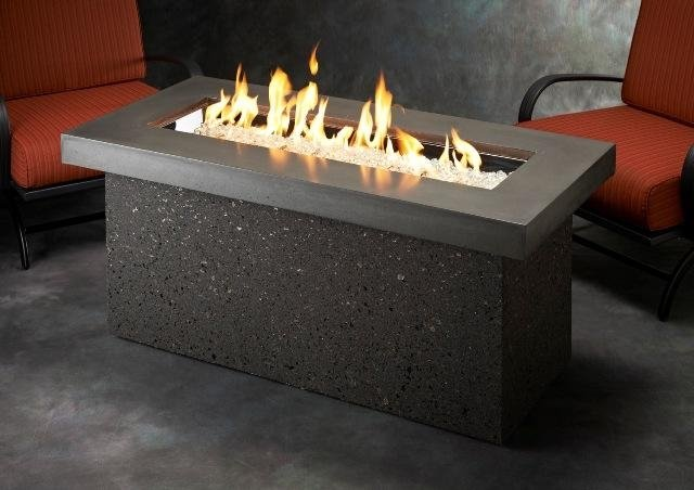 Upscale, modern design Key Largo Gas Fire Pit Table by The Outdoor GreatRoom Company for your patio theme or backyard design