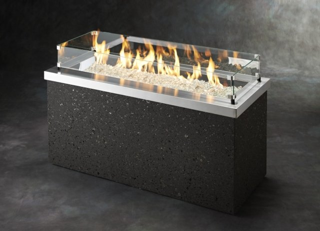 Simple, modern design Stainless Steel Key Largo Gas Fire Pit Table with Glass Guard by The Outdoor GreatRoom Company for your patio or deck