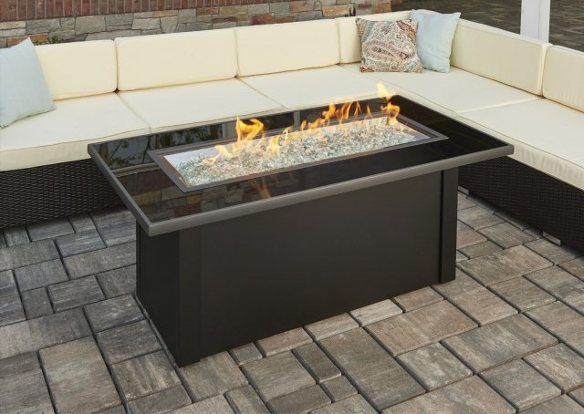 Simple, modern style Monte Carlo Gas Fire Pit Table by The Outdoor GreatRoom Company for your patio theme or backyard oasis