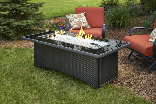Simple, eye-catching design Black Montego Linear Gas Fire Pit Table by The Outdoor GreatRoom Company for your backyard or patio area