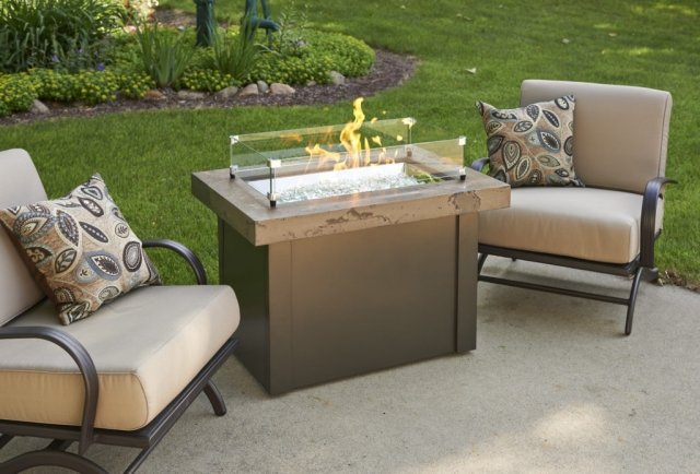 Simple, compact design Brown Providence Gas Fire Pit Table by The Outdoor GreatRoom Company for your dream patio or deck