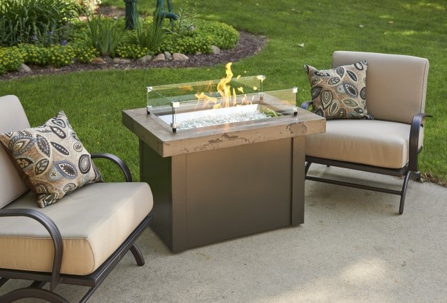 Simple, stylish design Brown Providence Gas Fire Pit Table with Glass Guard by The Outdoor GreatRoom Company for your patio or backyard