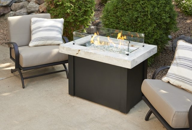 Simple, stylish design White Providence Gas Fire Pit Table with Glass Guard by The Outdoor GreatRoom Company for your cozy patio or deck