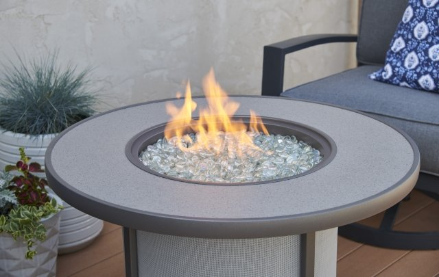 Grey Stonefire Gas Fire Pit Table for 2020 New Products by The Outdoor GreatRoom Company for your backyard or deck