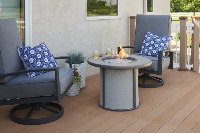 Grey Stonefire Round Gas Fire Pit Table by The Outdoor GreatRoom Company for your patio or deck