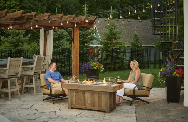 Distressed, trendy look Vintage Linear Gas Fire Pit Table by The Outdoor GreatRoom Company for your dream patio or backyard