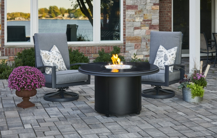 Black Granite Beacon Chat Height Gas Fire Pit Table The Outdoor