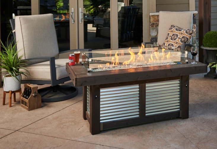 Denali Brew Linear Gas Fire Pit Table, Outdoor Furniture With Gas Fire Pit Table