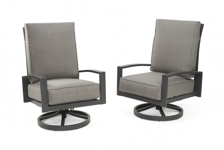 Cast Slate Lyndale Highback Swivel Rocking Chairs The Outdoor Greatroom Company