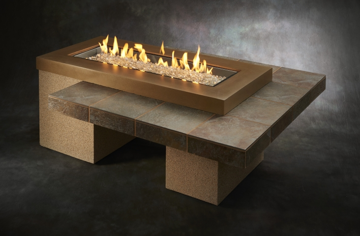 Brown Uptown Linear Gas Fire Pit Table The Outdoor