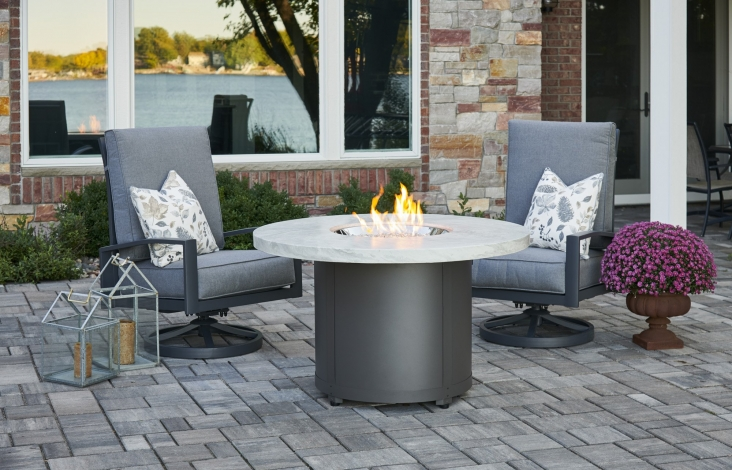 White Onyx Beacon Dining Height Gas Fire Pit Table The