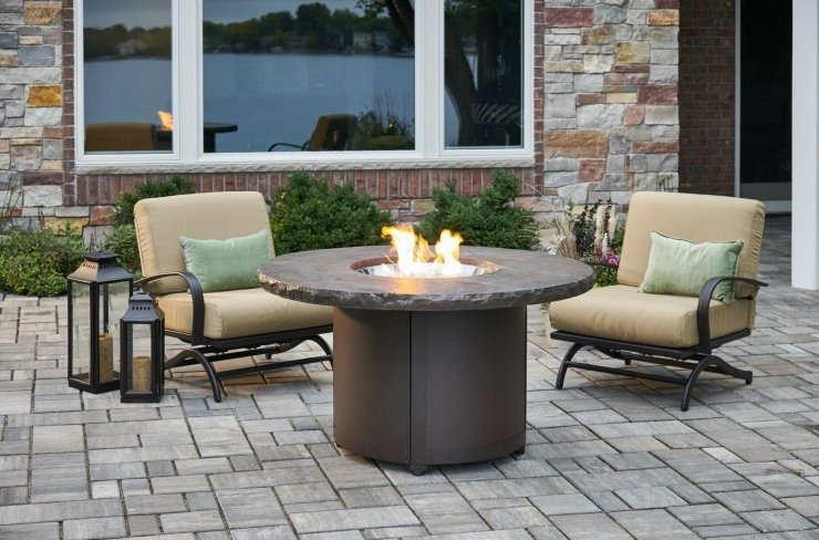 Beacon Gas Fire Pit Table Marbleized Noche Chat Height BC-20-MNB