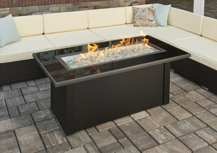 Linear Monte Carlo Fire Pit Table Black Glass Top