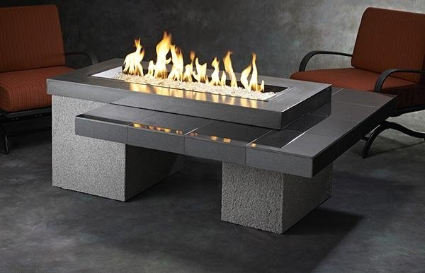 Linear Uptown Fire Pit Table Black Granite UPT-1242