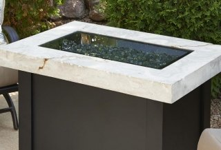 1224 Grey Glass Cover on White Onyx Providence Fire Pit Table