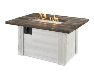 Modern, shiplap design Alcott Gas Fire Pit Table by The Outdoor GreatRoom Company for your farmhouse patio or backyard
