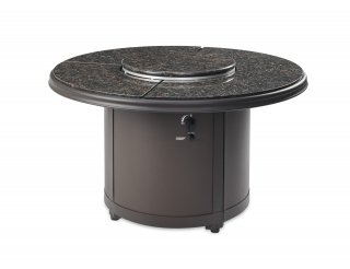 Stylish, unique design Brown Granite Beacon Gas Fire Pit Table with Lazy Susan Burner Cover by The Outdoor GreatRoom Company for your patio or backyard