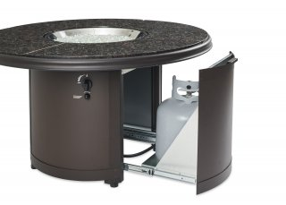 Stylish, unique design Brown Granite Beacon Gas Fire Pit Table with Sliding Tank Door by The Outdoor GreatRoom Company for your patio or backyard