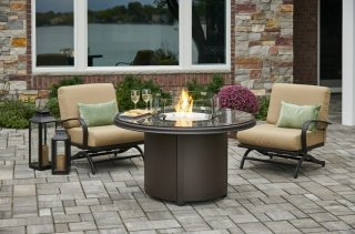 Unique, stylish design Brown Granite Beacon Chat Height Gas Fire Pit Table by The Outdoor GreatRoom Company for your patio or deck