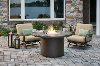 Unique, durable design Marbleized Noche Beacon Chat Height Gas Fire Pit Table by The Outdoor GreatRoom Company for your patio or backyard