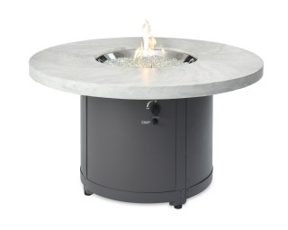 Unique, stylish design White Onyx Beacon Chat Height Gas Fire Pit Table by The Outdoor GreatRoom Company for your patio or deck