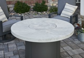 Unique, modern design White Onyx Beacon Chat Height Gas Fire Pit Table by The Outdoor GreatRoom Company for your patio or backyard