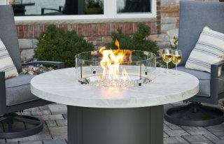 Unique, stylish design White Onyx Beacon Chat Height Gas Fire Pit Table by The Outdoor GreatRoom Company for your patio or backyard