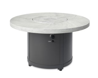Unique, stylish design White Onyx Beacon Chat Height Gas Fire Pit Table with Matching Burner Cover by The Outdoor GreatRoom Company for your patio or deck