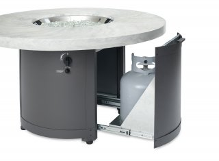 Unique, stylish design White Onyx Beacon Chat Height Gas Fire Pit Table with Sliding Tank Door by The Outdoor GreatRoom Company for your patio or deck