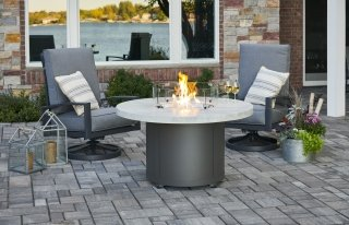 Stunning, unique White Onyx Beacon Chat Height Gas Fire Pit Table by The Outdoor GreatRoom Company for your patio or backyard